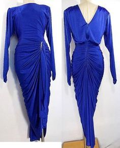 16db9f01063e VINTAGE 80s Hourglass Dress Sz M Draped Fluid Cocktail Party Formal  Rhinestones Dresses With Sleeves,