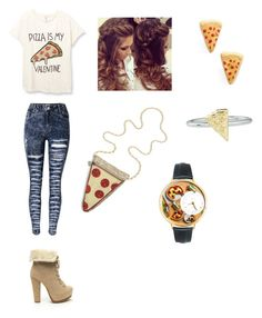 """""""Pizza day!!! """" by haterz18 on Polyvore featuring J.Crew, Venessa Arizaga, Whimsical Watches and Rock 'N Rose"""