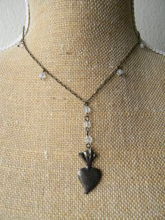 Brass Rosary Necklace with Clear Beads and Heart Milagro    #milagro #milagros #altars #altar #miracle #charm #charmed #blessed #divine #mexico #saints #mexican #custom #blessing #art #handmade #sacred #faith #god #style #amulet #talisman #angel #protection #prayer #chic #fashion #jewelry #bronze #necklace #heart #valentinesday