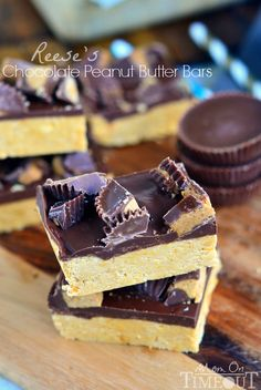 Satisfy your chocolate and peanut butter cravings in less than 30 minutes with these Reese's Chocolate Peanut Butter Bars! | MomOnTimeout.co...