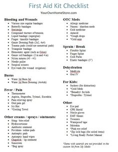 Use this RN approved first aid kit checklist to build your own first aid kit. Also Includes six mom-approved items our family will never be found without. Emergency Binder, Emergency Preparedness Kit, Emergency Preparation, Emergency Supplies, Survival Supplies, Dog Supplies, Hurricane Preparedness, First Aid Kit Checklist, Diy First Aid Kit
