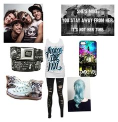 """Pierce The Veil"" by awomanofletters ❤ liked on Polyvore featuring Retrò, Converse, women's clothing, women, female, woman, misses and juniors"