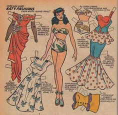 Just some of the fantastic Katy Keene paper dolls that appeared inside the issues of the Katy Keene comic books which I alway hoped my dad would buy for me when the newest comic would come out. Nothing much more fun than the Katy Keene comic book world of the 50s.