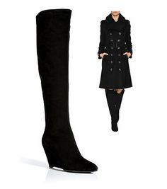Giuseppe Zanotti Suede Knee-High Wedge Boots  $1,134  Sleek Suede Boots Detailed with sultry contoured wedges,