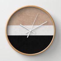 classic - natural, cream and black Wall Clock by herart Unusual Clocks, Cool Clocks, Home Clock, Diy Clock, Wooden Clock, Wooden Decor, Silver Wall Clock, Clock Wall, Casa Retro