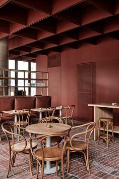 Artwork For Home Decoration Commercial Design, Commercial Interiors, Estilo Color Block, Renovation Parquet, Cat Ideas, Ideas Terraza, Melbourne Cafe, Design Exterior, Restaurant Interior Design