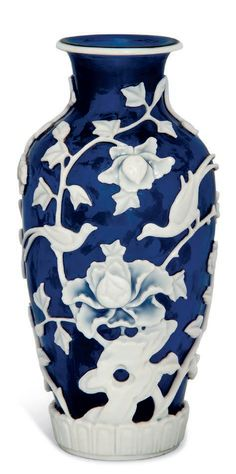 A white overlay blue glass vase, 19th century Chinese