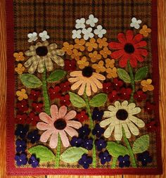 Wool applique brown plaid table runner penny rug by HighlandSong on Etsy