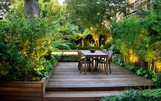 The lush garden design for this South London home sustains a modern, subtropical haven enjoyed all year round, abundant in luxuriant foliage, warm material tones and natural, verdant ambience. Garden Design London, London Garden, Modern Garden Design, Garden Landscape Design, Back Gardens, Small Gardens, Small Tropical Gardens, Lush Garden, Terrace Garden