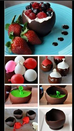 How to make chocolate bowls home, great for desserts! Just Desserts, Delicious Desserts, Dessert Recipes, Yummy Food, Dessert Cups, French Desserts, Chocolate Bowls, Chocolate Baskets, Chocolate Shells