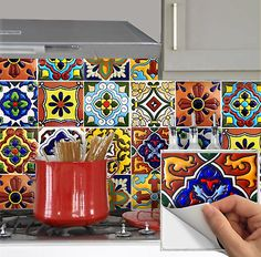 Upgrade your kitchen backsplash, bathroom wall, stair risers or floor tiles has bever been so easy with these durable vinyl tile stickers. It is wasterproof, tear-resistent and scratch-resistent, easily removable without damagaing surface. Mexican Kitchen Decor, Mexican Home Decor, Mexican Kitchens, Fiesta Kitchen, Tile Decals, Vinyl Tiles, Wall Tiles, Vinyl Decals, Peel And Stick Tile