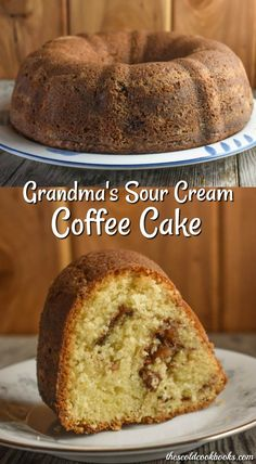 Grandma's Sour Cream Coffee Cake Recipe - These Old Cookbooks - Kuchen und Torten neu - Pound Cake Recipes, Easy Cake Recipes, Dessert Recipes, Dessert Blog, Sour Cream Coffee Cake, Sour Cream Pound Cake, Jewish Coffee Cake Recipe Sour Cream, Desserts With Sour Cream, Cake Recipe With Sour Cream