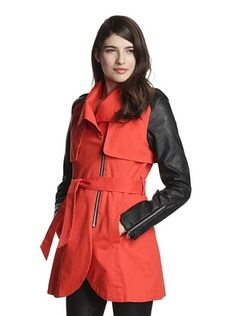 55% OFF French Connection Women's Combo Tulip Trench (Souk Sunrise/Black)