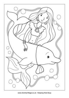 Mermaid Colouring Page 3
