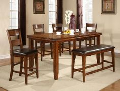 Figaro Counter Height Dining Set Includes Table Chairs and Bench