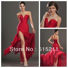Sweetheart Side hendidura Sexy gasa roja Couture estilo sirena vestido de noche Formal de los vestidos de fiesta 2014