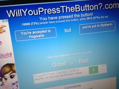Slams the button
