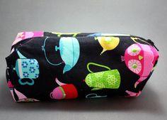 Colorful Decorative Teapot Print on Black Zipper Makeup Bag or Pencil Pouch by LittlePeachFuzz, $8.00