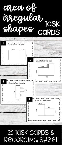 Find the area of irregular shapes with these task cards. Great practice for this hard to master standard. Ideal for 3rd graders or 4th graders who need reteach and review.