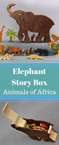 The back of this beautifully crafted Elephant Box opens to reveal 14 mini hardwood animals and trees that would be found where an elephant lives in Africa, that will inspire story telling and imaginative play. Each piece is made of a unique hardwood. #etsy #handmade #wood #storytelling #imagination #waldorf #montessori #ad