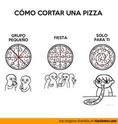 Cómo cortar una pizza.