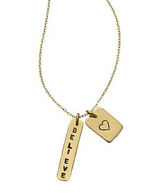 personalized gold double tag necklace