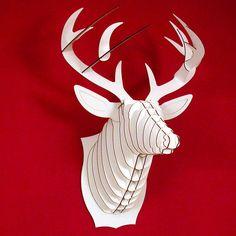 Stylish cardboard deer trophy wall sculpture: http://www.walletburn.com/Large-Cardboard-Deer-Trophy_744.html #giftideas #decor #home #homedecor