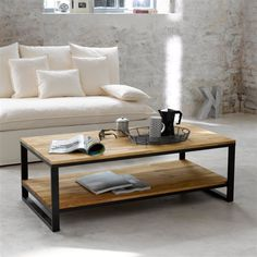 Table basse, double plateau, en noyer massif abouté et acier, Hiba La Redoute Interieurs
