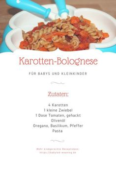 Fleischloses BLW-Rezept: Karotten-Bolognese Fleischloses BLW-Rezept: Karotten-Bolognese,Babybrei und Beikost: Rezepte und Tipps Also suitable for vegetarian and vegan babies from the … Carne, Baby Food Recipes, Healthy Recipes, Vegan Baby, Beef Ribs, Homemade Baby Foods, Recipe Steps, Eating Organic, Healthy Eating Tips