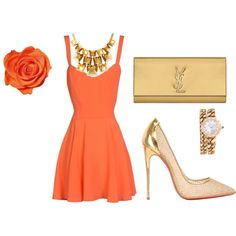 """""""orange romance"""" by prettysexiness on Polyvore"""