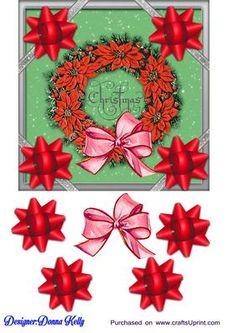 green silver wreath on Craftsuprint designed by Donna Kelly - pretty green