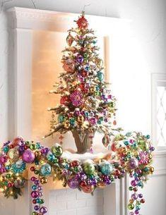 colorful christmas tree Easy DIY Christmas Mantel Decor Ideas for Your Fireplace Diy Christmas Mantel, Noel Christmas, Pink Christmas, Beautiful Christmas, Winter Christmas, Christmas Wreaths, Christmas Crafts, Christmas 2019, Christmas Music