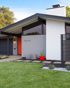 "Built in 1974 and just completing a renovation, Robert Maurer calls his home ""a continuously changing sandbox where we were able… Ranch Exterior, Modern Farmhouse Exterior, House Paint Exterior, Exterior Remodel, Exterior House Colors, Exterior Design, Bungalow Exterior, Exterior Shutters, Mcm House"