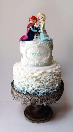 fondant elsa and anna figure   Frozen Cake ~ fondant Anna, olaf and Elsa