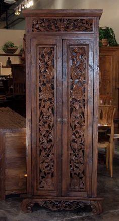 Carved Teak Bali Cabinet | Gado Gado