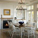 Like everything about this room, especially the fireplace.      Renovation to a Maine Seaside Home - traditional - dining room - other metro - Barnes Vanze Architects, Inc
