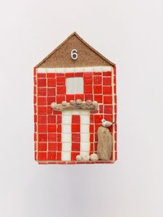 Red Beach Hut By Rana Cullimore--Available at www.ranacullimore.co.uk www.notonthehighstreet.com/ranacullimore/product/red-beach-hut-mosaic-wall-art