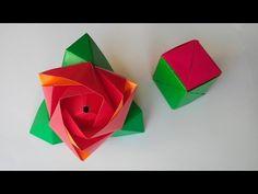 Роза трансформер из куба оригами, Rose origami cube transformer. - YouTube
