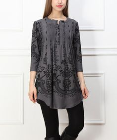 Another great find on #zulily! Charcoal Floral Button-Front Tunic #zulilyfinds