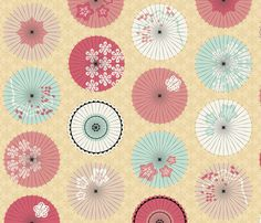 Japanese Umbrellas in the Fall fabric by pinkowlet on Spoonflower - custom fabric