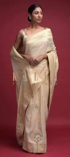 Ivory Beige Saree In Brocade Silk With Weaved Moroccan Pattern And Gotta Patch Work Online - Kalki Fashion Moroccan Pattern, Designer Sarees, Online Work, Floral Motif, Silk Sarees, Peacock, Festive, Ethnic, Patches