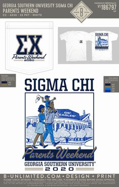 Sigma Chi Parents Weekend Shirt | Fraternity Event | Greek Event #sigmachi #machi #sx Parents Weekend Shirts, Georgia Southern University, Sigma Chi, Dad Day, Greek Clothing, Fraternity, Dads, Greek Outfits, Fathers