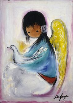 """DeGrazia's angels, """"Untitled - Angel with Dove"""", oil on canvas. DeGrazia Gallery in the Sun open daily from 10-4, free admission"""