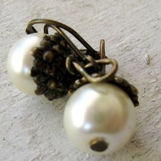 Vintage Antique Bronze Flower Bead Cap Ivory White Pearl Lever Back Earrings by MystiqueCat, $12.00