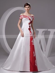 Satin Princess Wedding Dress with Embroidery and Flower