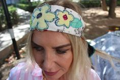 White cotton headband, Yellow flowers, Cotton turkish fabric, Festival women bandana, recycle headband, Floral summer headband, women gift
