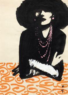 René Gruau - Cover for International Textiles No. 341/2, 1961 – IX 1961, Ink, felt tip pen and gouache on paper, 40 x 30 cm (40 x 29 cm)
