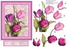 TULIPS IN THE PINK card decoupage Mother s Day on Craftsuprint designed by Janet Briggs - Beautiful painted tulips large topper and decoupage. Suitable for a wide variety of female occasions, including easter, mother's day, mum, mam, female birthday etc.Also available in reds or lilacs on listings cup48717_68 and cup48720_68 - Now available for download!