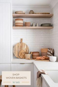 Modern Country, Country Shop, Interior Design Kitchen, Storage Baskets, Large Baskets, Home Reno, Floating Shelves, First Home, Kitchen Utensils