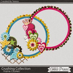 05-18-15  Freebie frame clusters created by CTM Teresa using the Crushing Collection.  Available at Designs by Connie Prince blog: scrapinfusions.blogspot.com